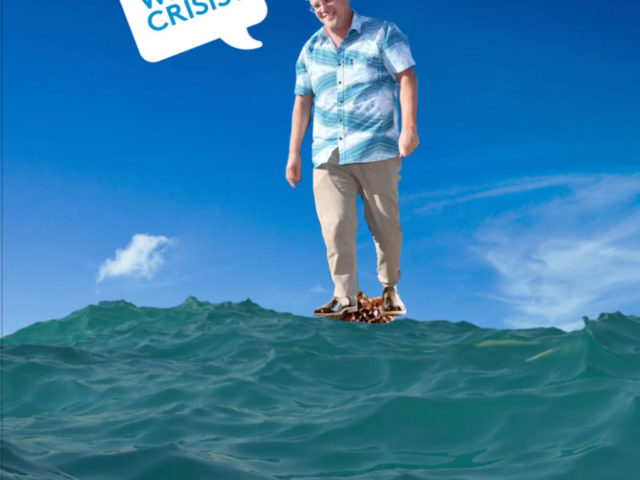 Scott Morrison stands on head of pacific chid to avoid drowning