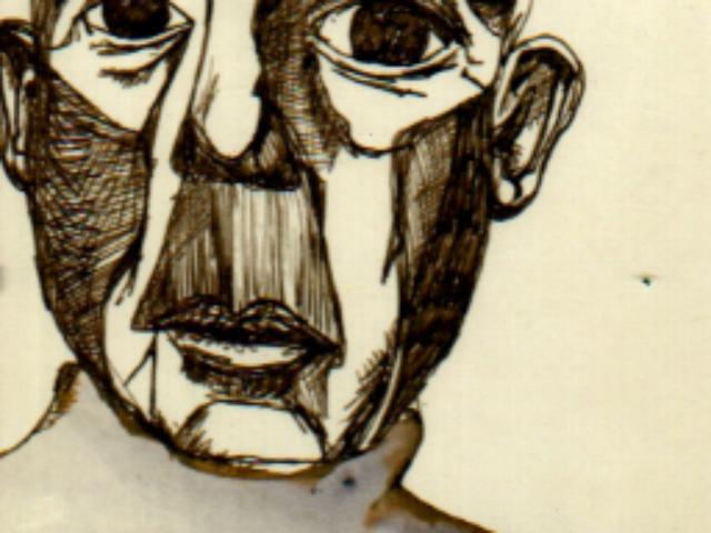 Ink portrait of Samuel Beckett