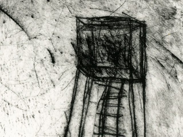 Detail of etching by Ingrid K Brooker