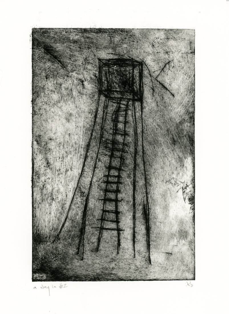 Etching of tall spindly tower with ladder by Ingrid K Brooker