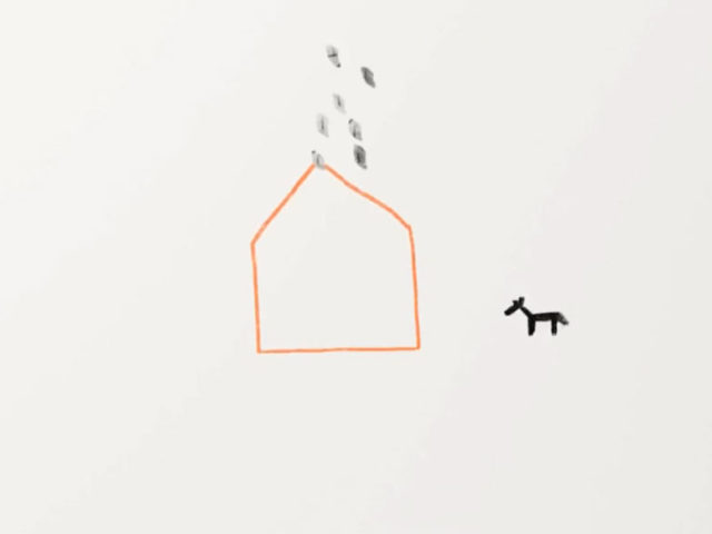 Drawn house with rain and deer