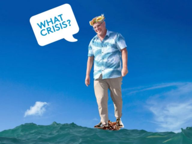 Scott Morrison stands in rising sea waters saying 'What crisis?""