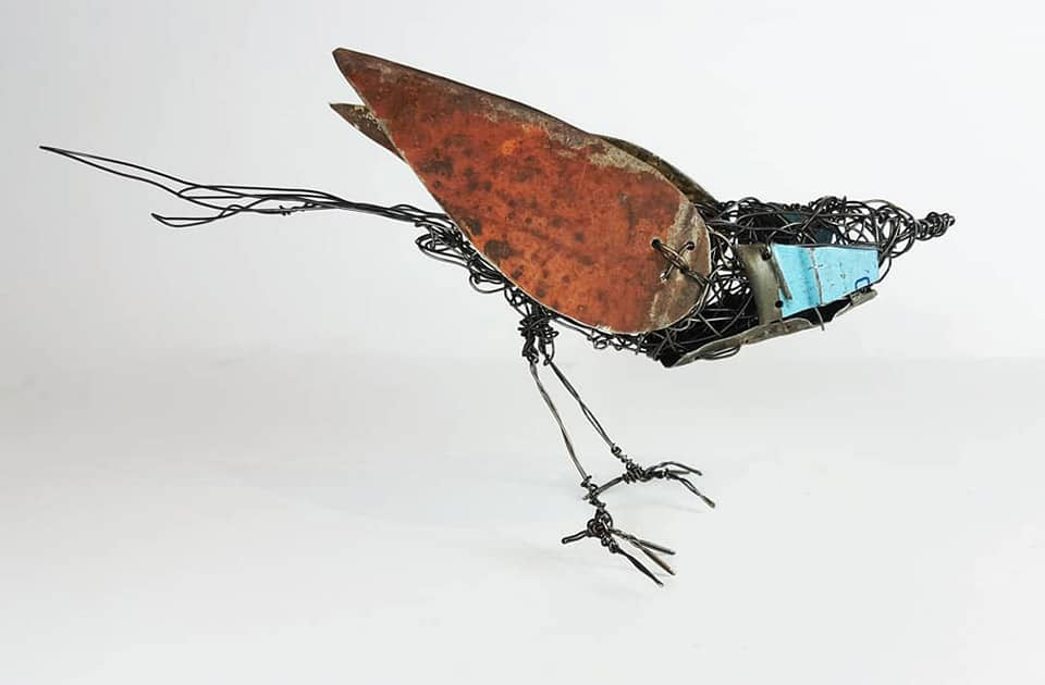 Wire bird sculpture of Black Throated Finch by ingrid k brooker