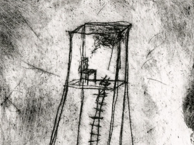 Etching of chair in tower