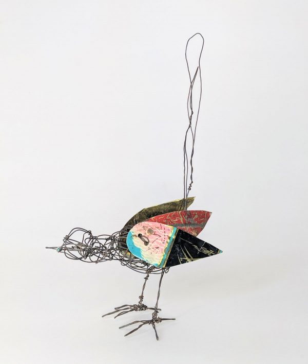wire and tin bird sculpture by ingrid k brooker