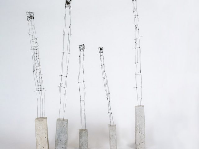 Concrete and wire tower sculptures by Ingrid K Brooker