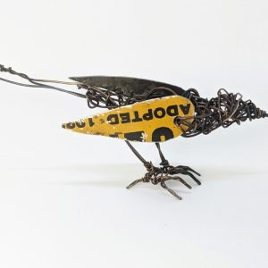 Bird sculpture made of tin and wire