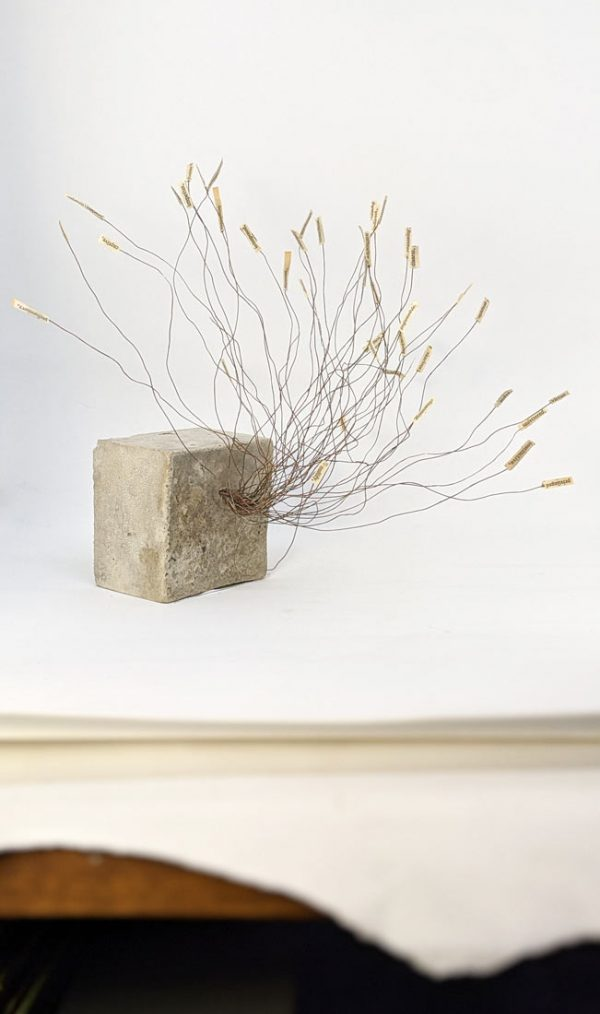 Concrete, wire and paper sculpture by Ingrid K Brooker