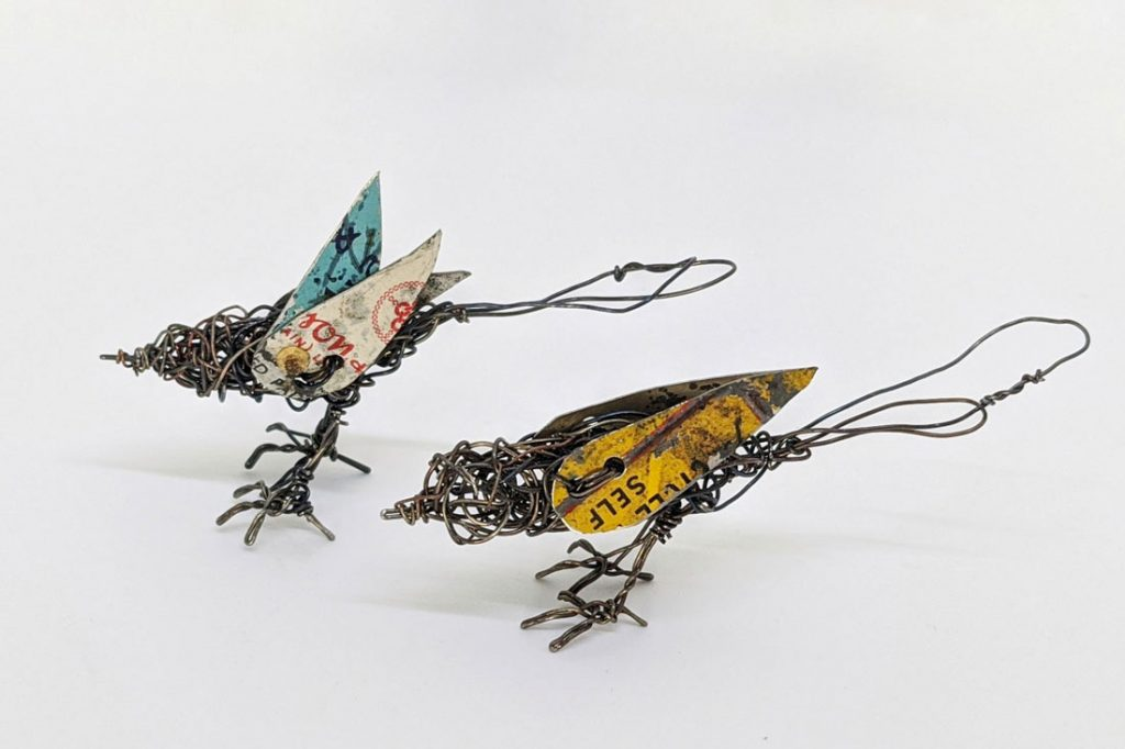 Bird sculptures made of wire and tin by Ingrid K Brooker