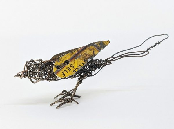 Bird sculpture made of wire and tin by Ingrid K Brooker