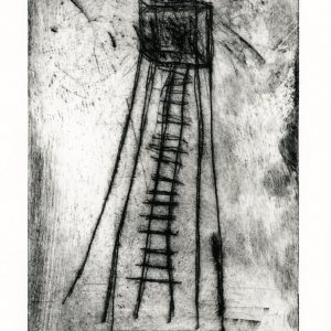Etching of spindly tower with ladder