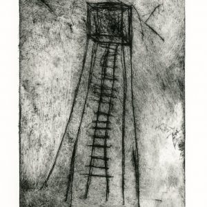 Drypoint etching of spindly tower with ladder