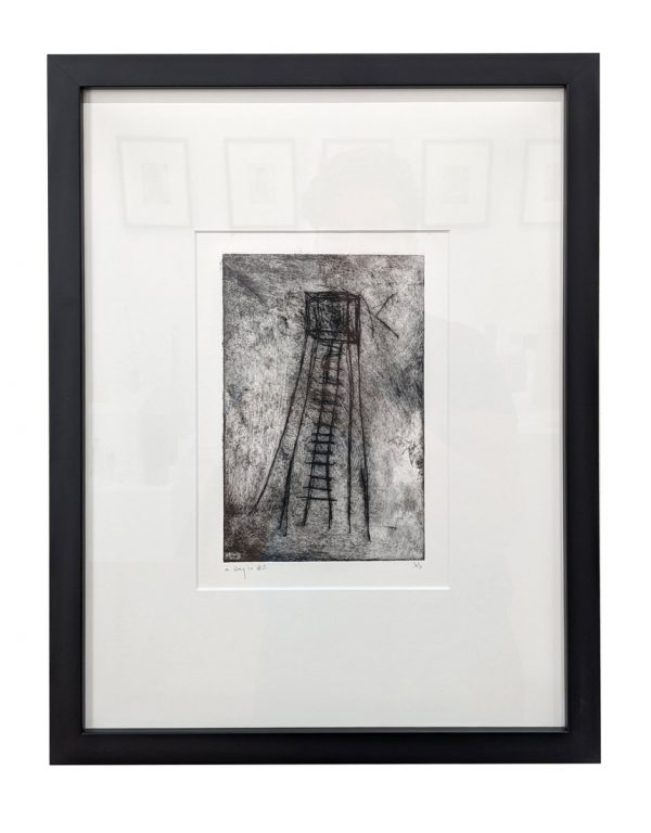 Framed drypoint etching of spindly tower with ladder