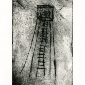 Etching of abstract tower with ladder