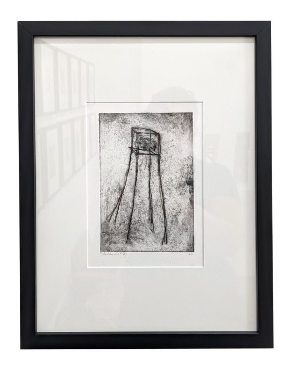 Framed etching of spindly tower