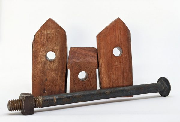 Carved red gum house sculptures