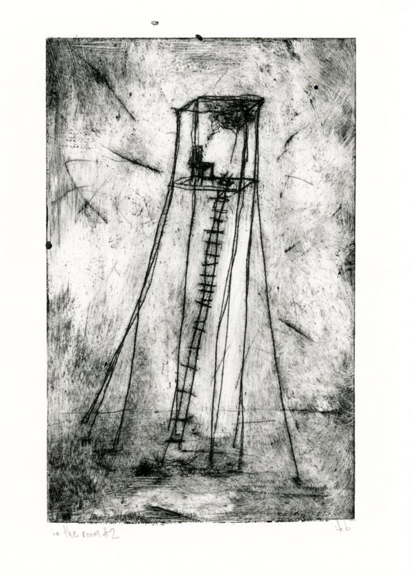 Etching of tower with chair and thought cloud