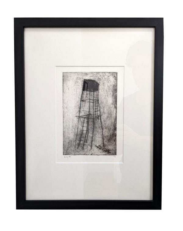 Etching of abstract tower with broken ladders