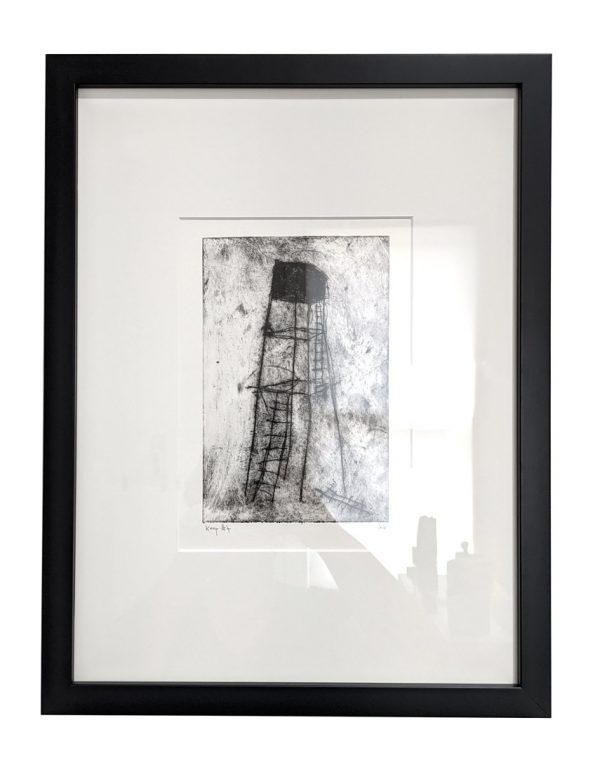 Framed etching of spindly tower with broken ladders