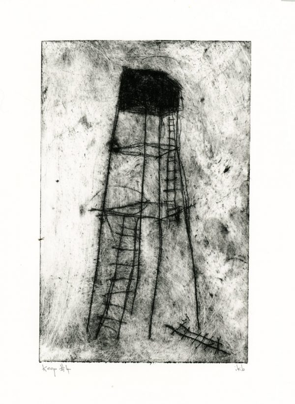 Etching of spindly tower with broken ladders