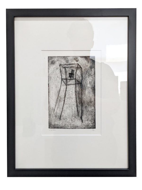 Etching depicting a chair in a tower