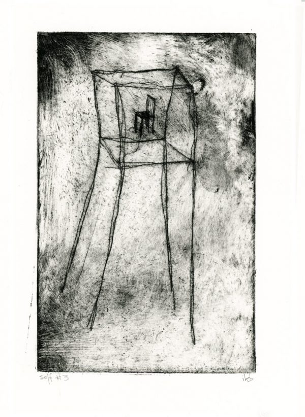 Etching of tower with chair inside