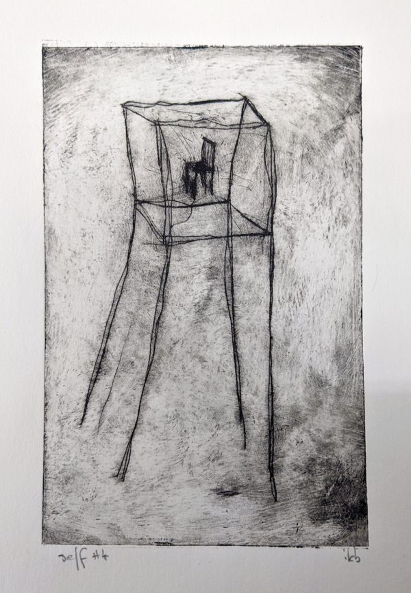 etching of chair in empty tower
