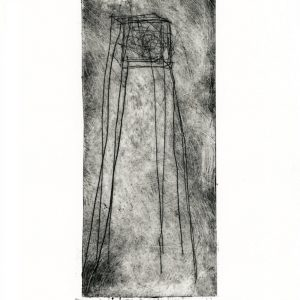 Abstract dry point etching of tower