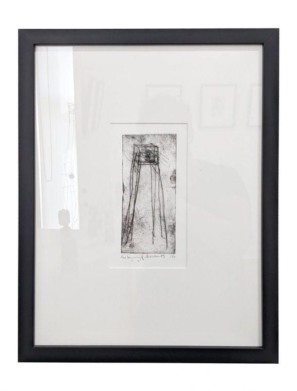 Framed drypoint etching depicting spindly cube on long legs