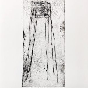 Drypoint etching depicting spindly cube on long legs