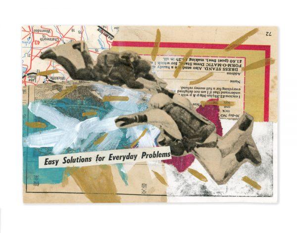 Collage of vintage men skydiving by Ingrid K Brooker