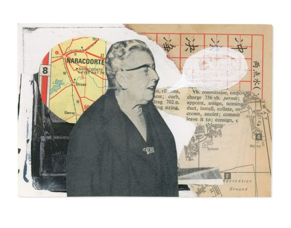 Mixed media collage of old vintage lady with speech bubble