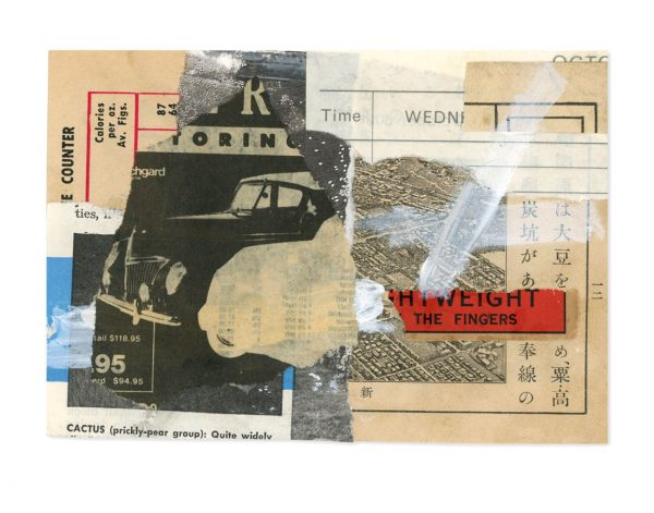 Collage of vintage ephemera depicting old cars