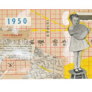 Collage of vintage ephemera with girl holding a ball by Ingrid K Brooker