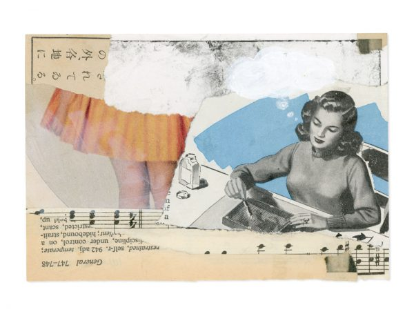 Collage of vintage ephemera depicting woman doing crafts