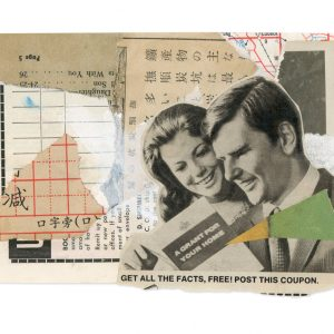 Collage work of two people looking at a booklet