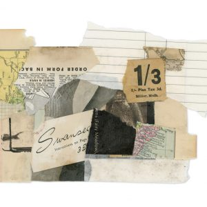 Collage of vintage ephemera including maps, ticket stubs and prints