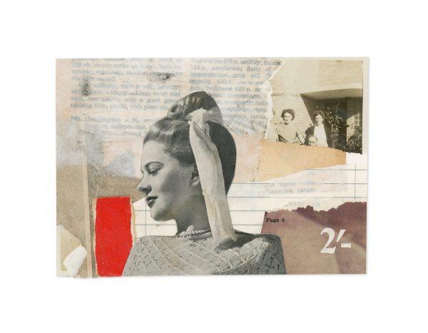 Collage of vintage ephemera showing glamorous young lady