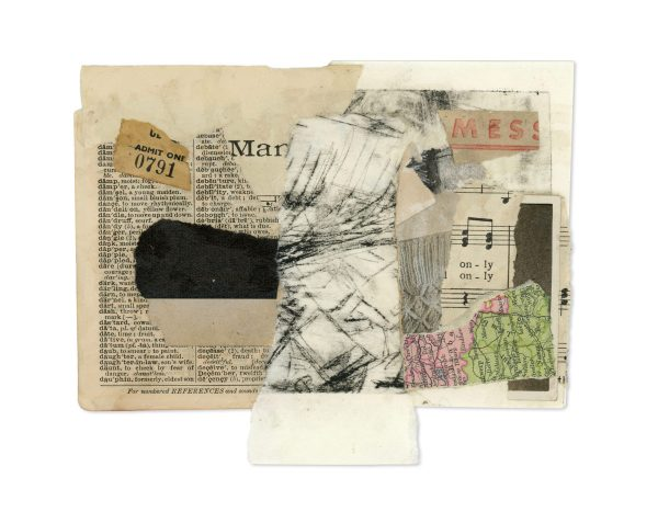 Vintage ephemera collage made of maps, ticket stubs, manuscript and etchings by Ingrid K Brooker