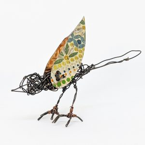 Wire bird sculpture with colourful tin wings by Ingrid K Brooker