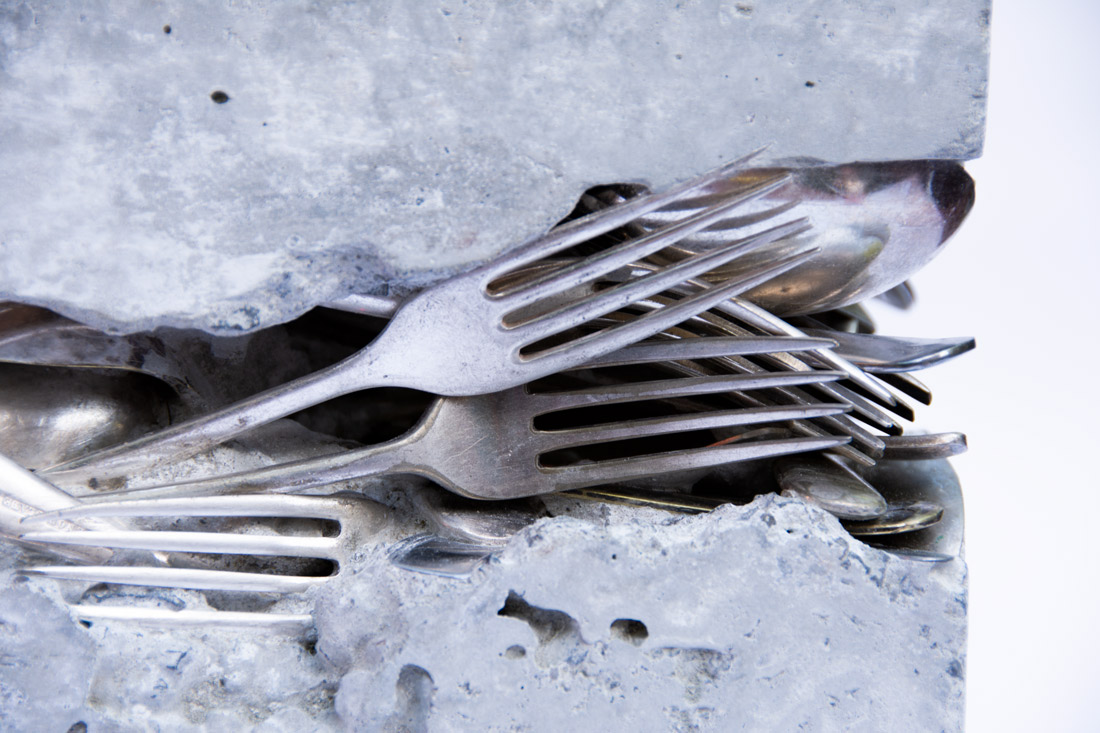 Concrete and cutlery sculpture by Ingrid K Brooker
