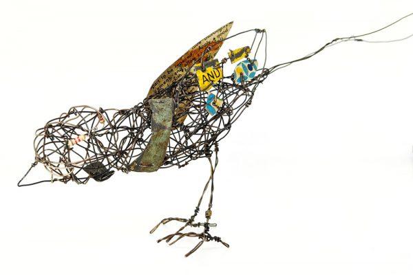 Wire bird sculpture by Ingrid K Brooker