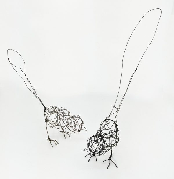 Two wire bird sculptures ny Ingrid K Brooker.