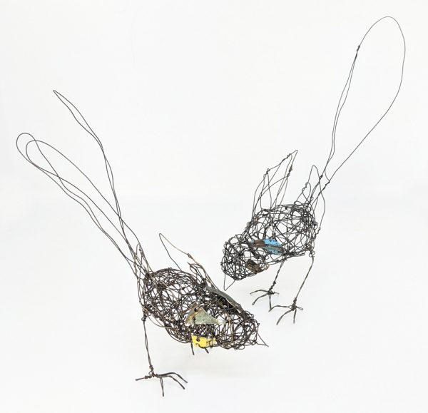 Two wire and tin bird sculptures by Ingrid K Brooker.